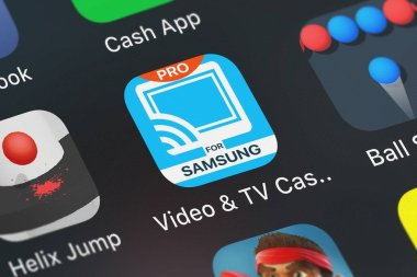 London, United Kingdom - October 01, 2018: The Video  TV Cast + Samsung TV mobile app from 2kit consulting on an iPhone screen.
