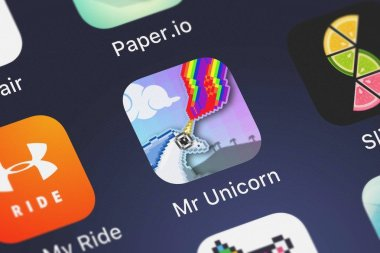 London, United Kingdom - October 01, 2018: Screenshot of the mobile app Mr Unicorn from Apps4Life.