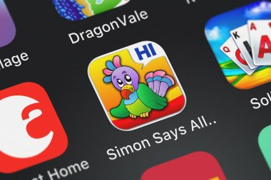 London, United Kingdom - October 02, 2018: Icon of the mobile app Simon Says  All in One Memory and Matching Sound Touch Activity Game for Kids (Toddler, Preschool, Kindergarten, 1st Grade) Play and Learn with Funny Animals, Vehicles and Musical Ins