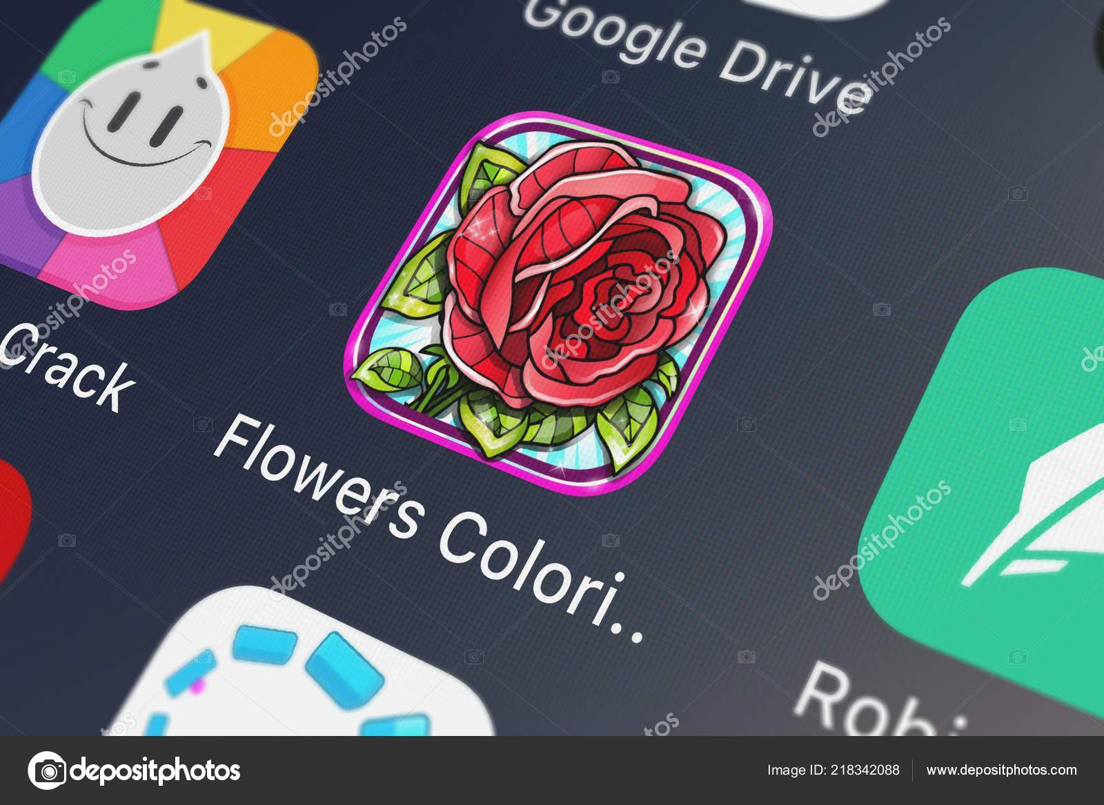London United Kingdom October 2018 Icon Mobile App Flowers Coloring