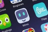 Londýn, Velká Británie - 02 října 2018: Close-up shot Mimo: naučit kód mobilní aplikace od Mimohello Gmbh
