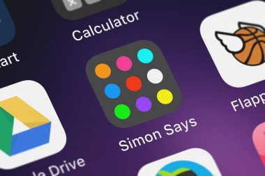 London, United Kingdom - October 02, 2018: Icon of the mobile app Simon Says - The Best Music  Colors Brain Remember Application Game from saar baruch on an iPhone.