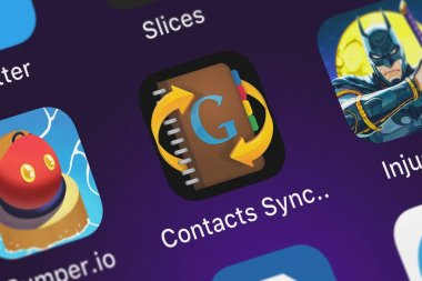 London, United Kingdom - October 02, 2018: Screenshot of Playa Apps's mobile app Contacts Sync for Google Gmail.