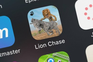 London, United Kingdom - October 01, 2018: Screenshot of Boris Tsarkov's mobile app Lion Chase.
