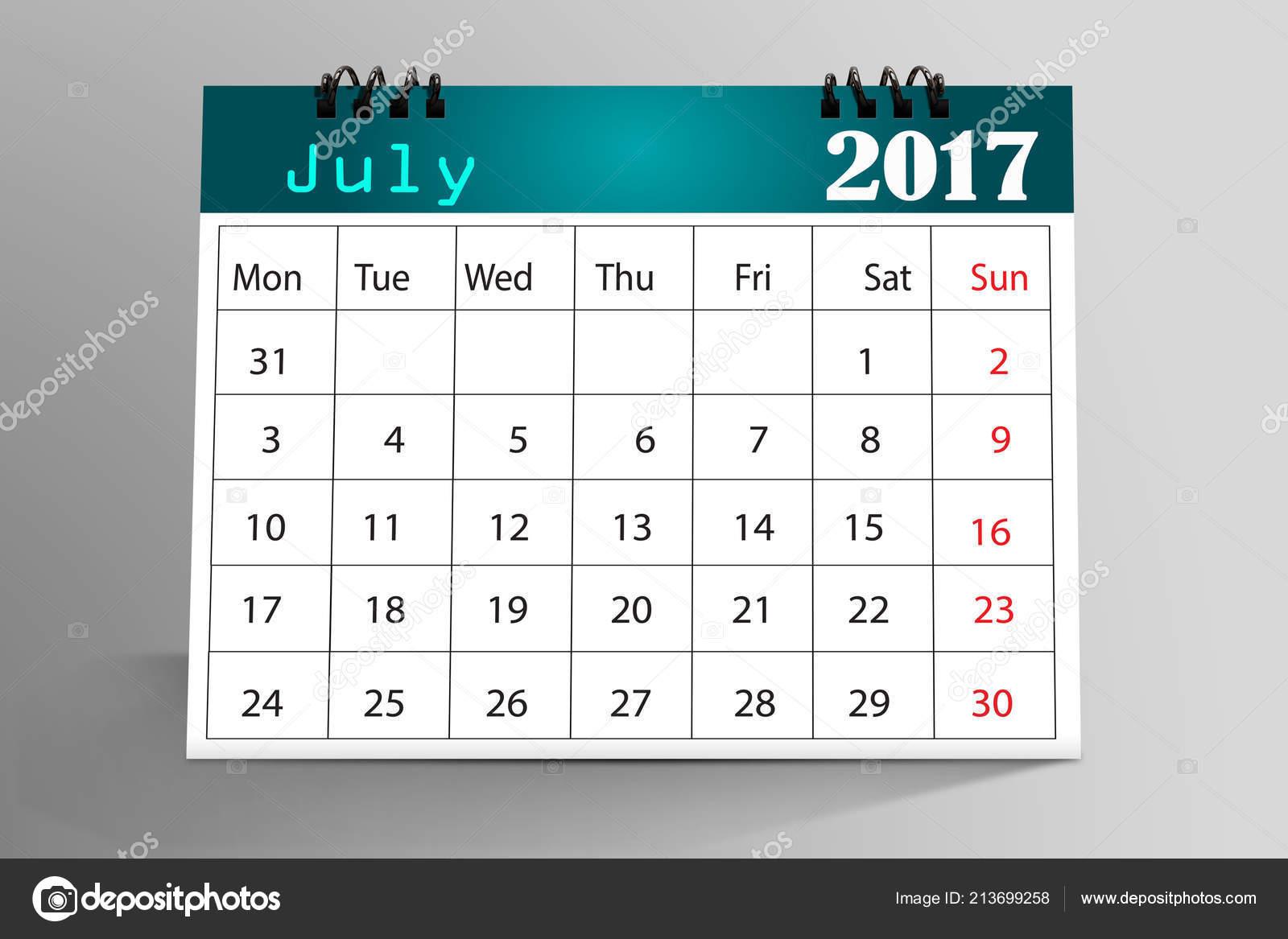 July 2017 Desktop Calendar Isolated Gray Background — Stock