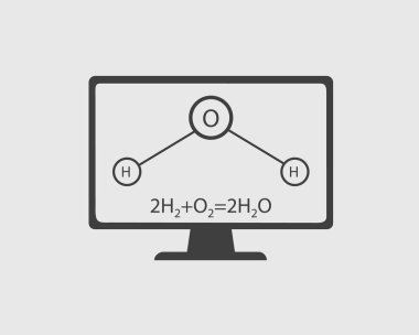 Chemistry Icon. General Equation and Structural Equation of Water with Computer Screen.
