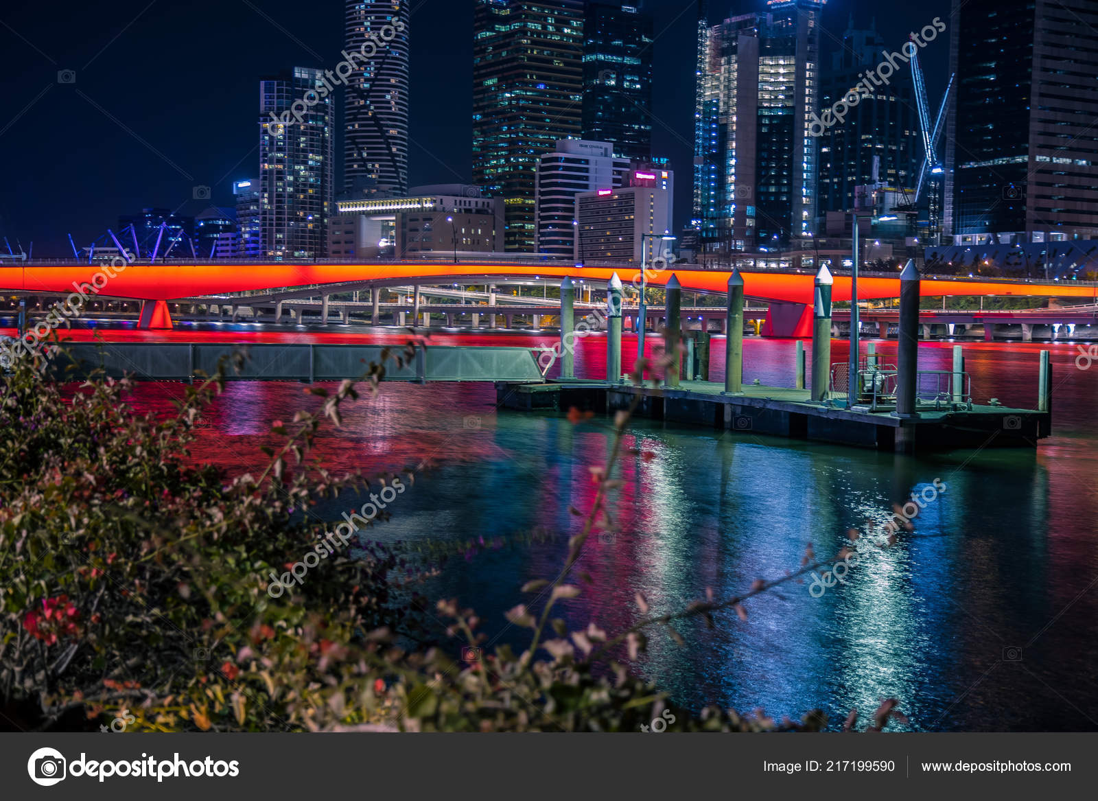 Cityscape Glowing Buildings River Embankment Night Time
