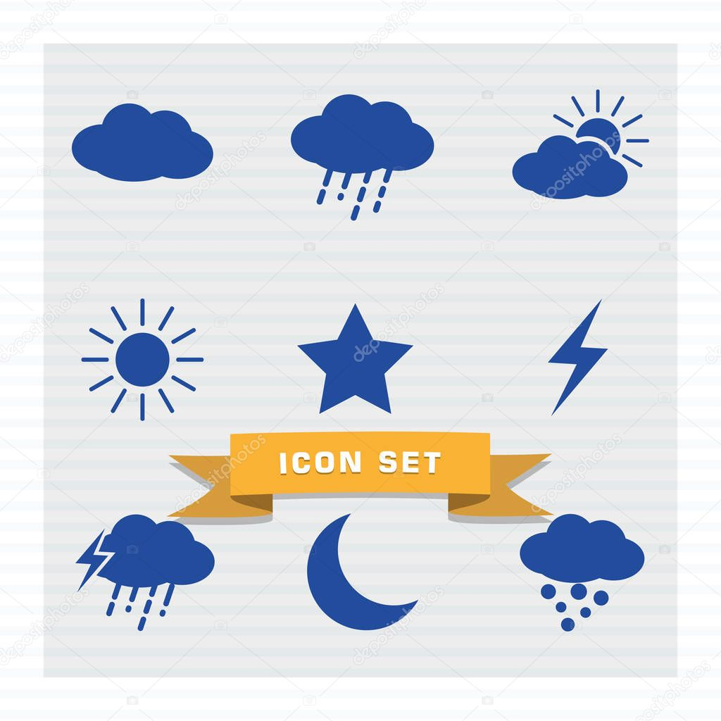 Weather icon set flat style in blue color vector illustration,clouds, thunder, star, moon, sun, rain, snow.