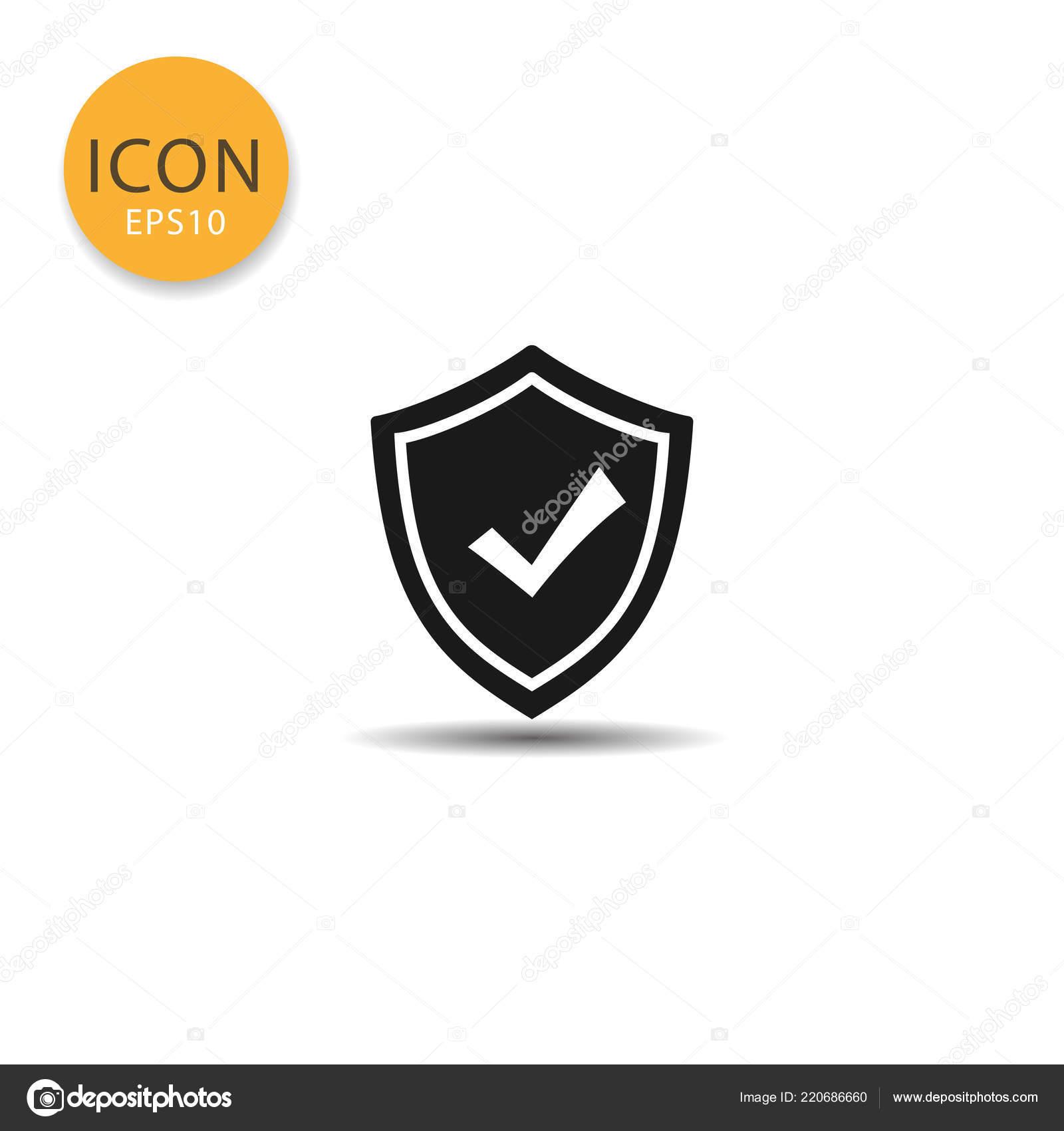 60b7b7d5af1 Icono de escudo estilo plano en la ilustración de vector de color negro  sobre fondo blanco — Vector de aedch76@gmail.com