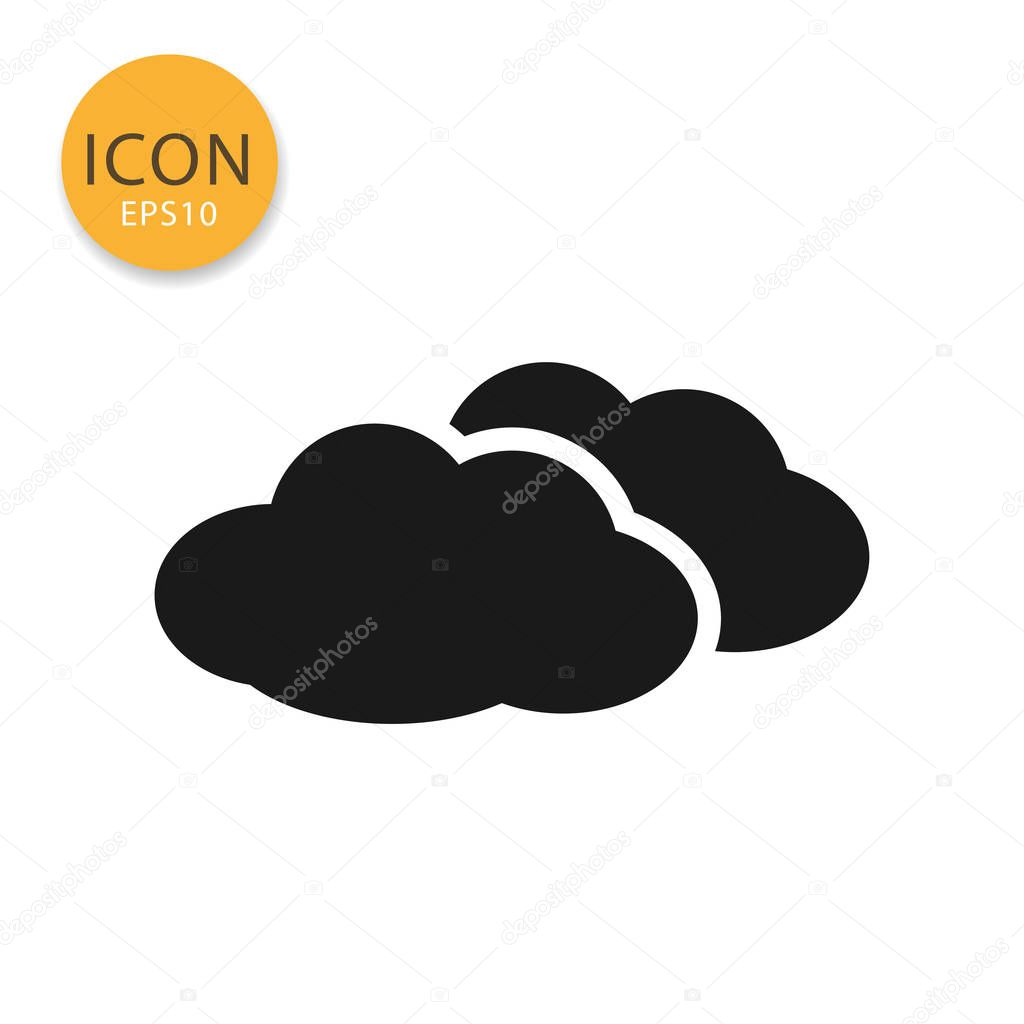 Clouds icon flat style in black color vector illustration on white background.