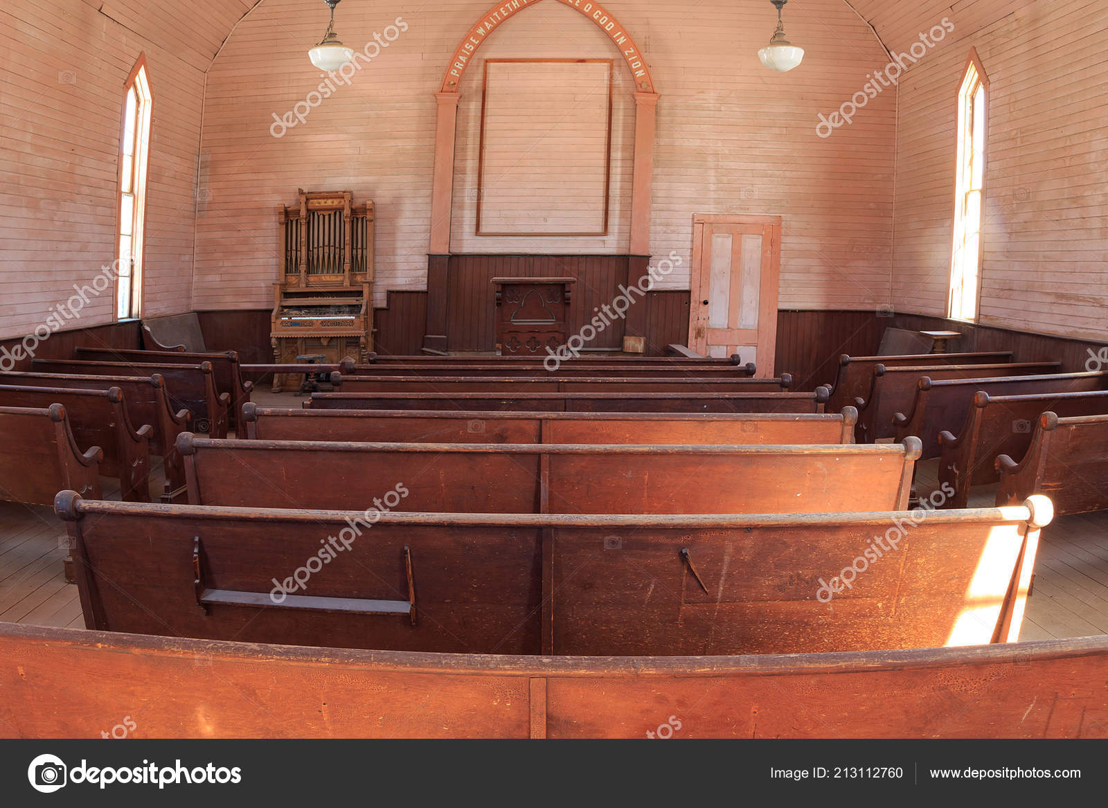 Stupendous Old Wooden Benches Church Usa Stock Photo Camellatalisay Diy Chair Ideas Camellatalisaycom