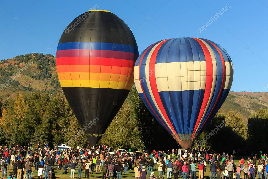 colorful hot air balloons over crowd of people