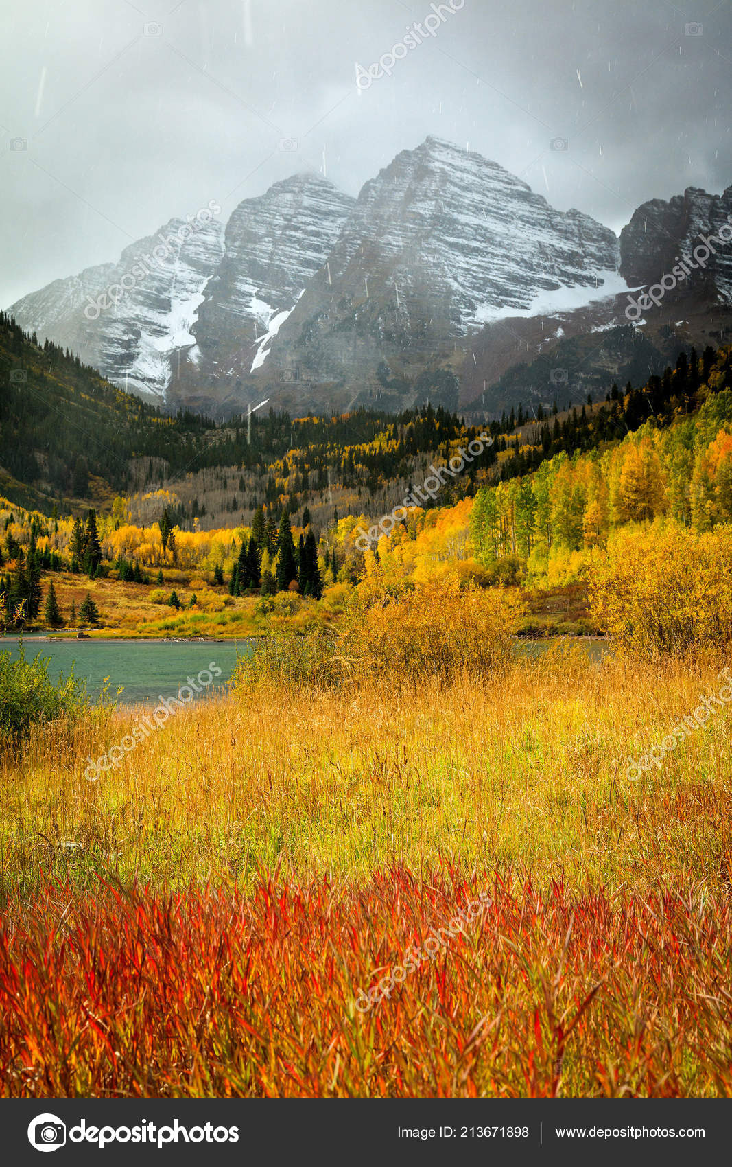 Autumn Landscape Maroon Bells Colorado United States — Stock