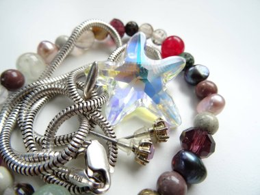 Colorful Gemstone Bracelet and a Silver Necklace with Big Crysta