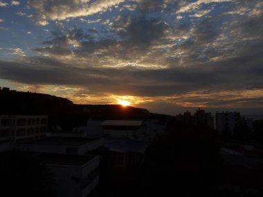 Dramatic Sunrise Sky Wall Background Close up