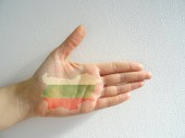 Bulgarian Map and The National Flag on a Palm of the Hand