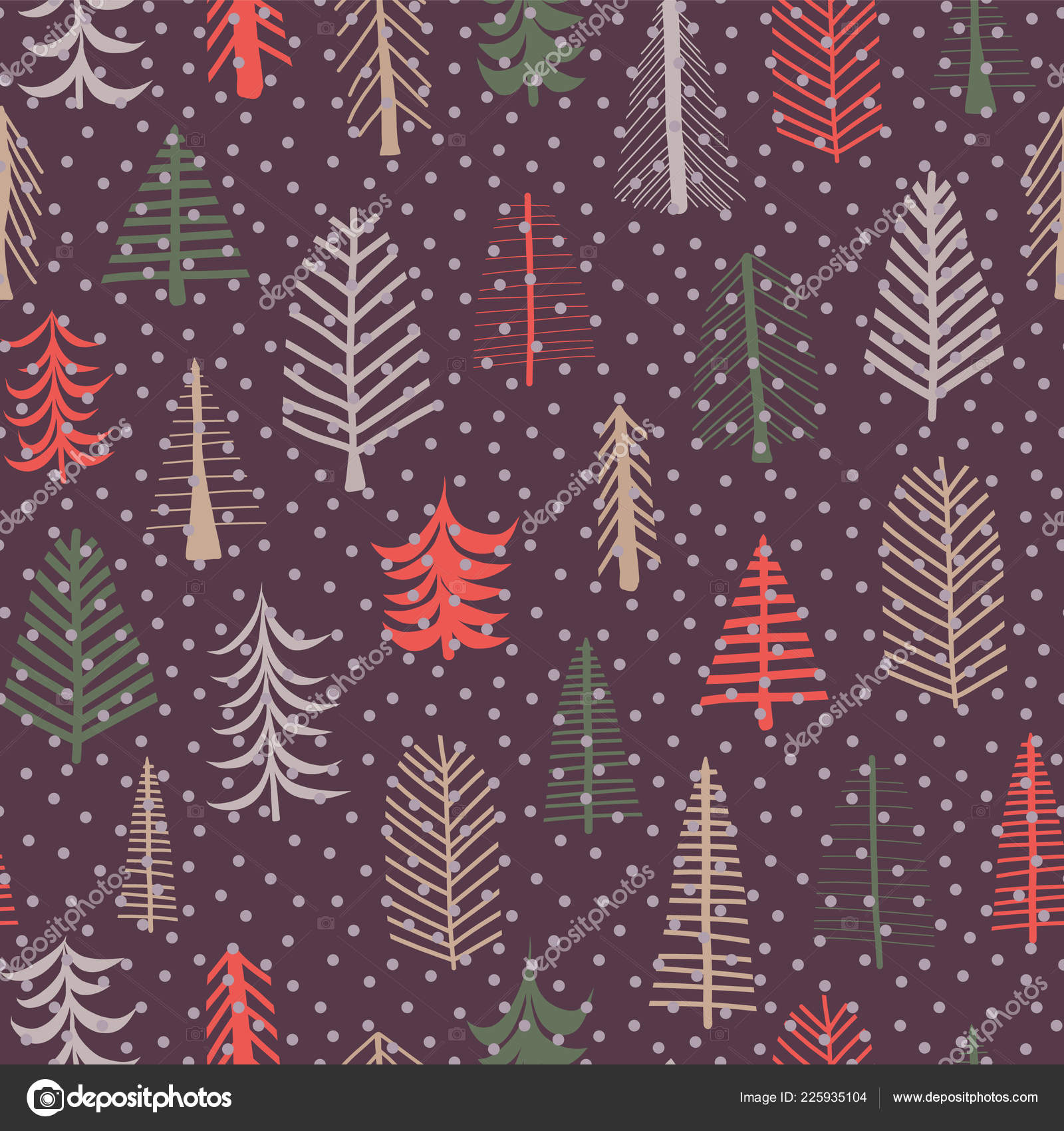 Christmas Tree Seamless Pattern Repeat Tile Green Brown