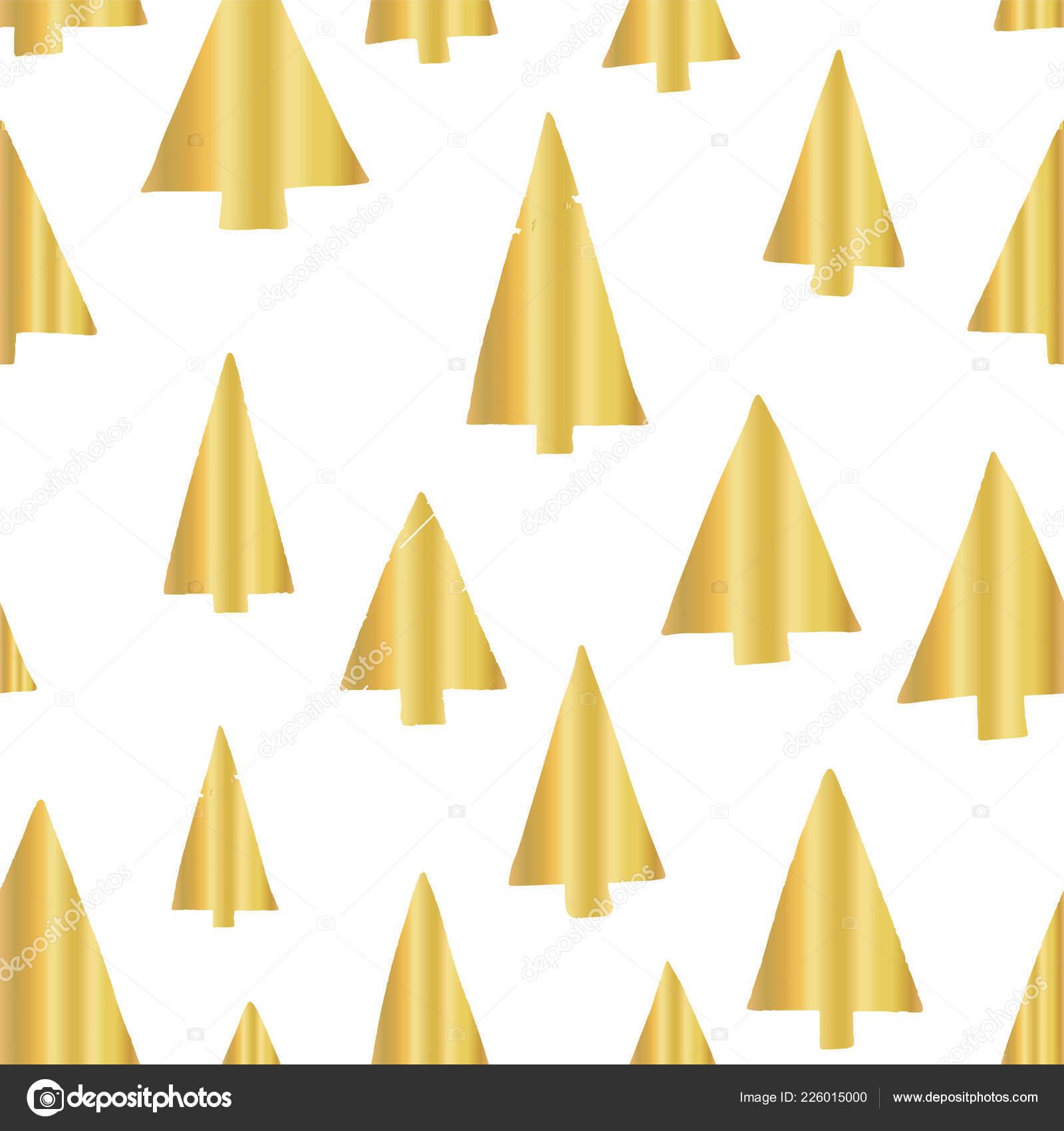 Gold Foil Christmas Tree Seamless Vector Pattern Backdrop Shiny
