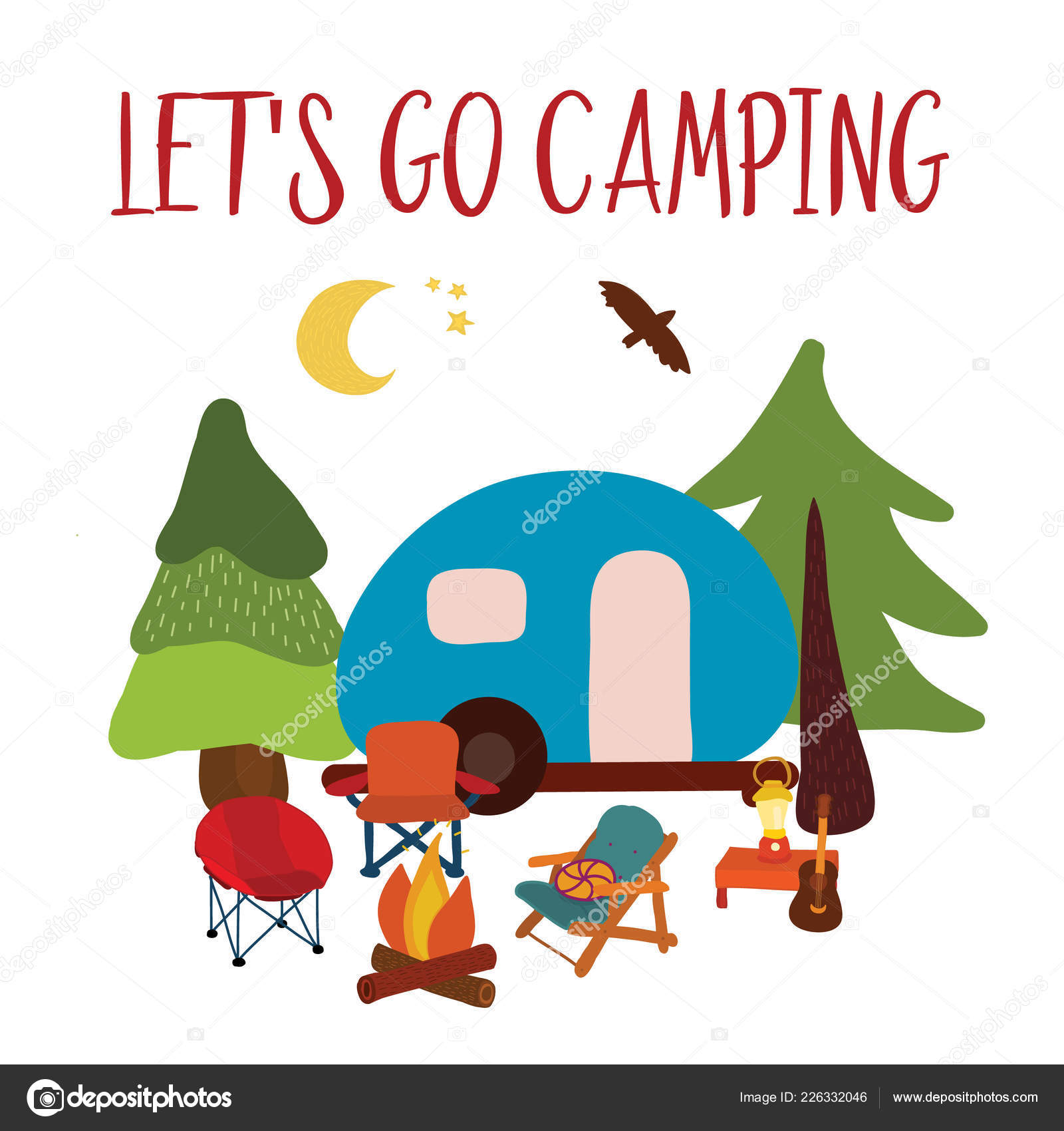 Lets Go Camping Travel Vector Illustration Summer Camping