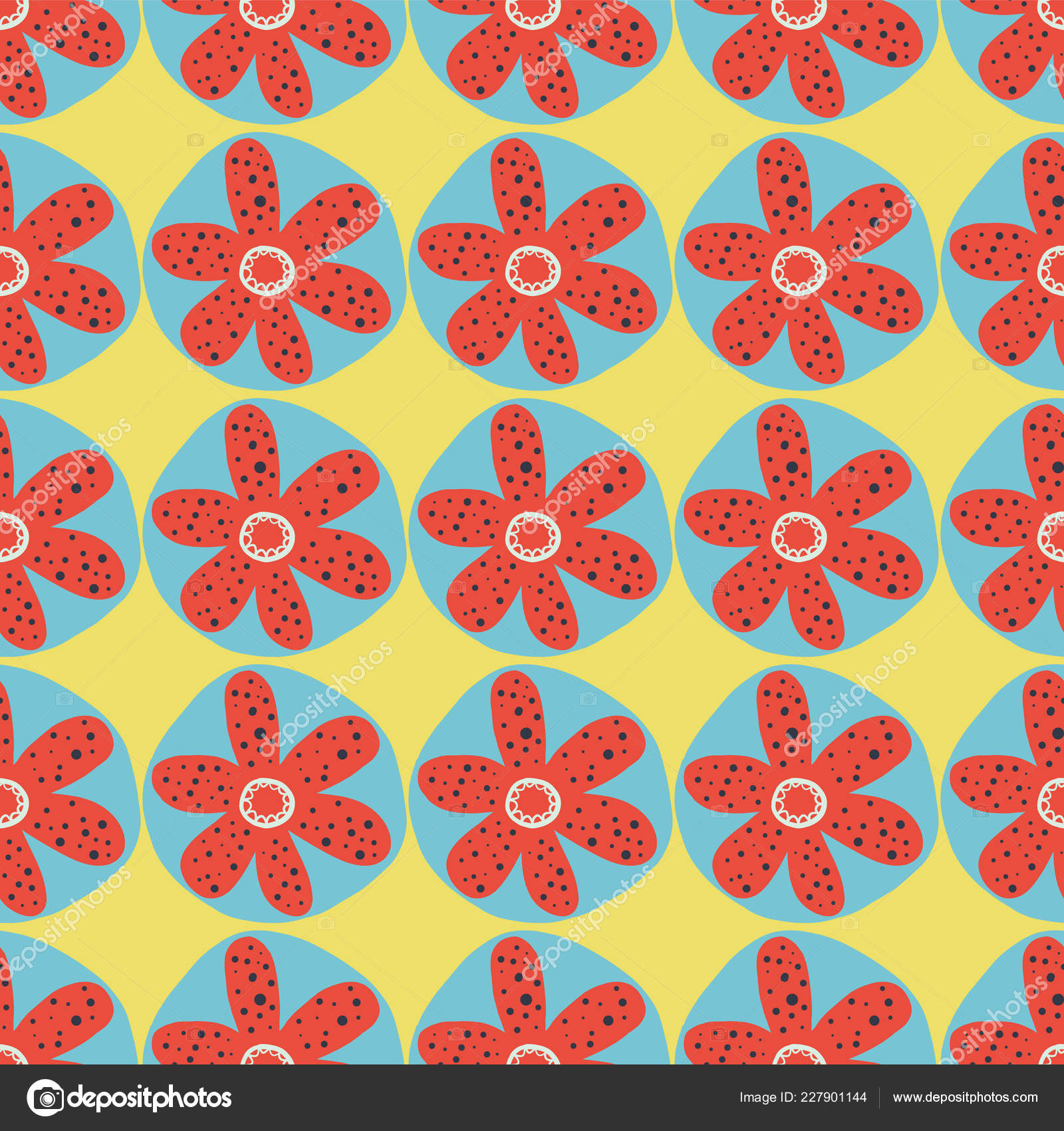 Retro Flowers Seamless Vector Background 1960s 1970s Floral Design