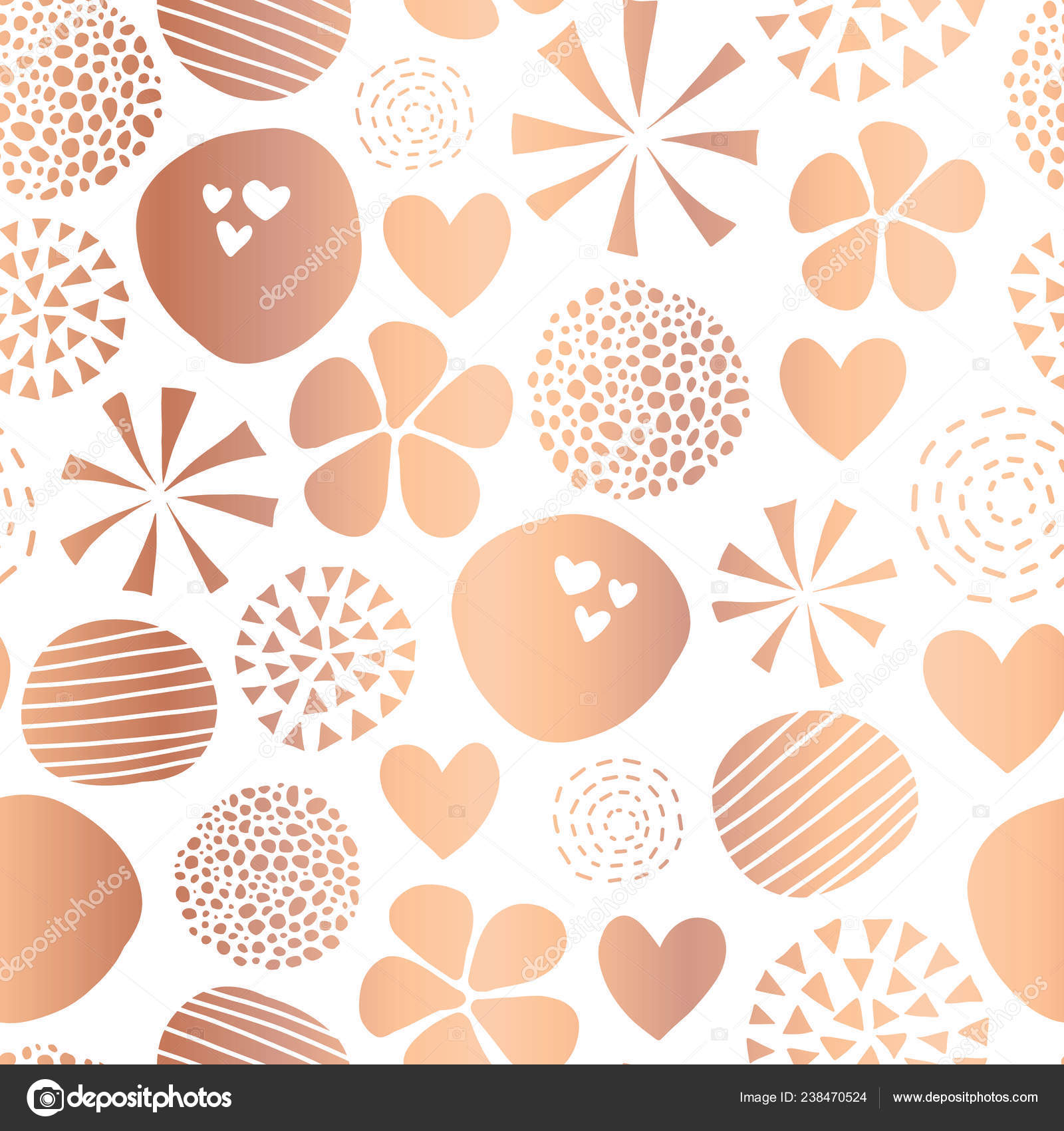 Copper Foil Abstract Seamless Vector Pattern With Flowers