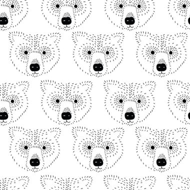 Bear head seamless vector pattern black and white. Bear face monochrome background. Minimalistic Scandinavian style animal design for kids decor, fabric, children fashion, hipster, wrapping, wallpaper
