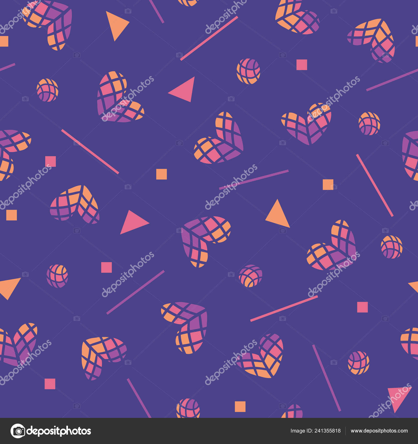 80s vector seamless pattern with hearts and geometric motifs