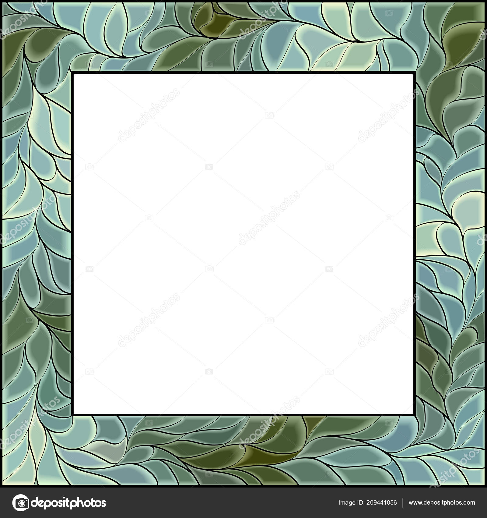 Square Vector Green Stained Glass Window Frame Photography ...