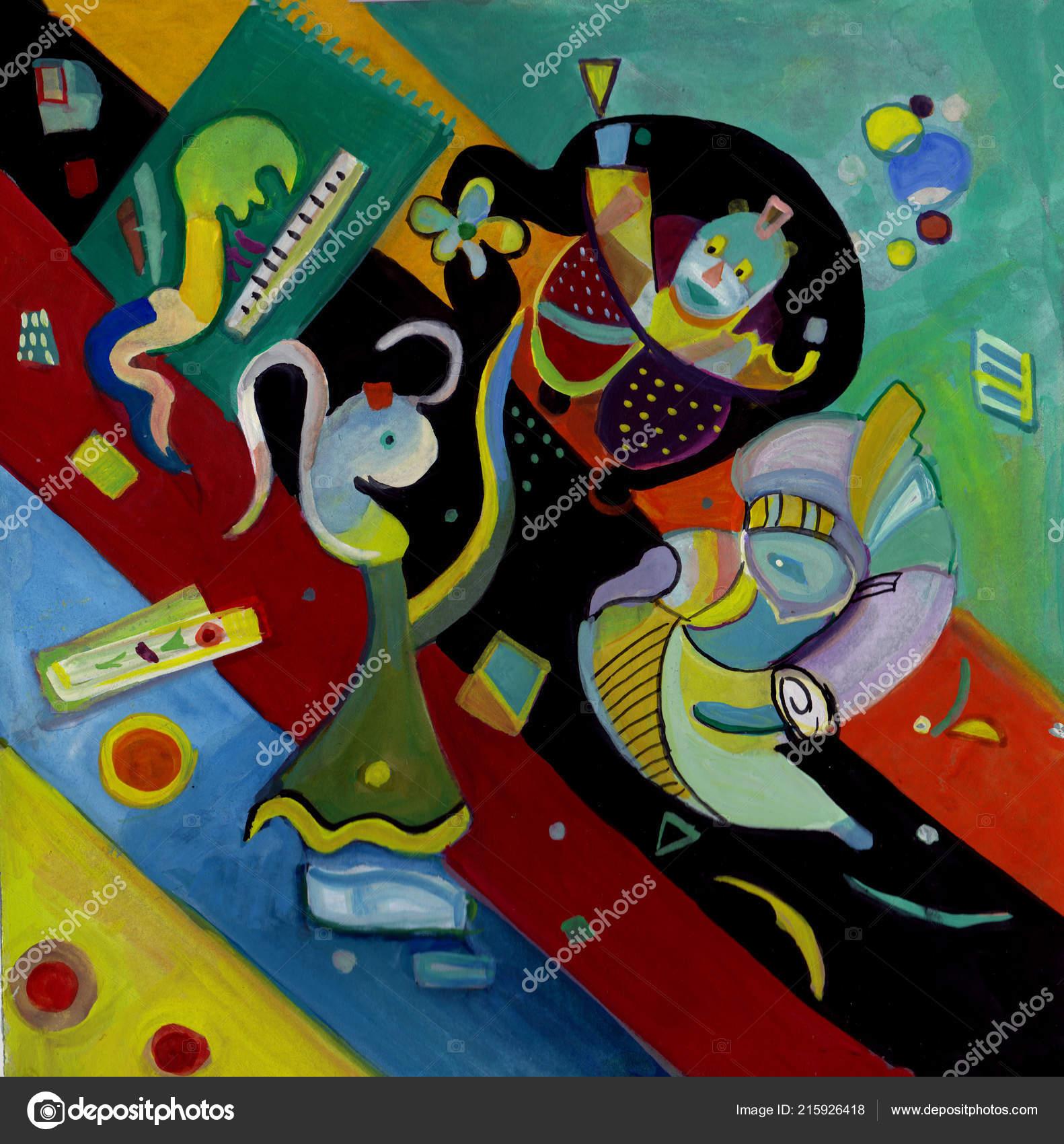 Abstraktes Bild Jazz Band Mit Sanger Stockfoto C Krimzoya
