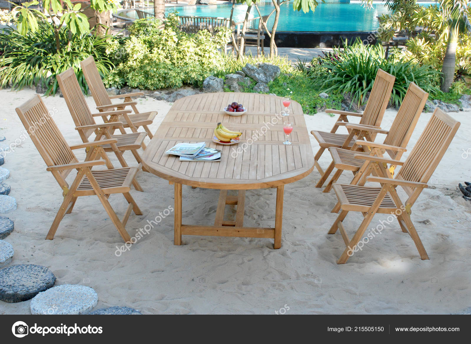 Teak Garden Furniture Outdoor Teak Garden Furniture Folding Chairs Table Stock Photo C Logonesia 215505150