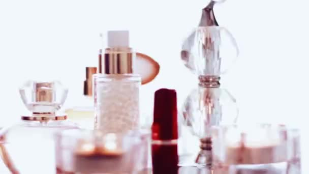 Luxury make-up products rotating, set of skincare, perfume and lipstick as background for cosmetic and beauty brand