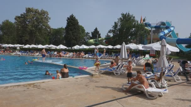 Nessebar, Bulgaria - JUNE 19, 2016: Hotel Sol Nessebar one of the best hotel chains in Bulgaria on the Black Sea coast.Guests relax in the local pools and water park.