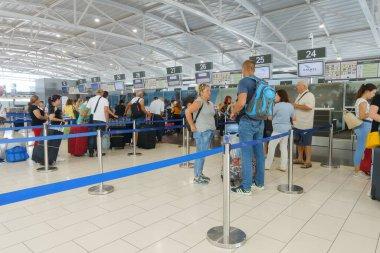 Larnaca, Cyprus - July 30. 2019: Passengers pass passport control in Larnaca International Airport