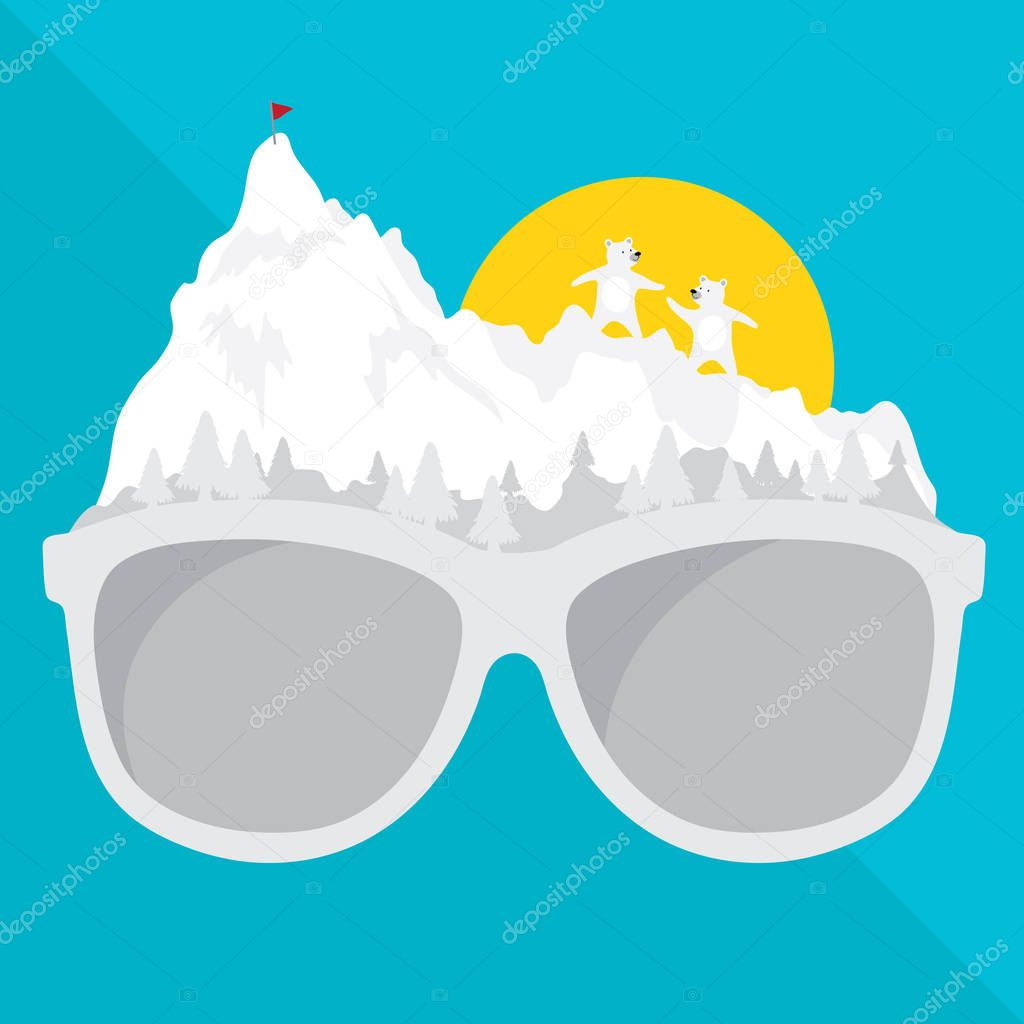 vector graphic glasses with concept travel and journey natural style. creative design snow of winter