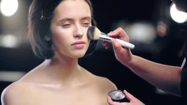 partial view of makeup artist powdering model face with cosmetic brush