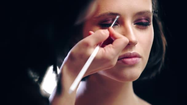 cropped view of makeup artist applying eyebrow shades with cosmetic brush