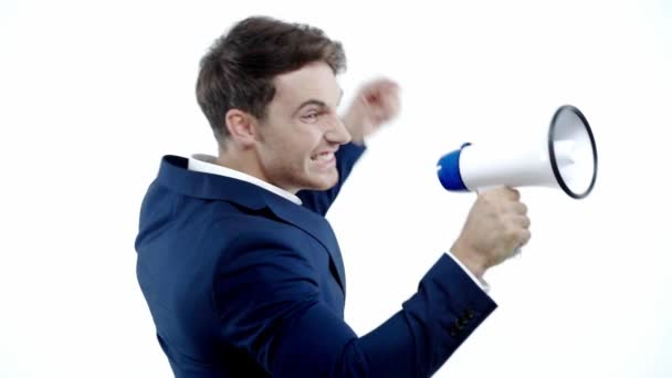 slow motion of businessman screaming in megaphone isolated on white