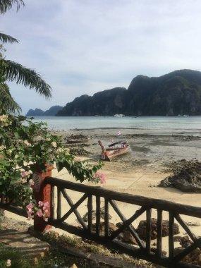 """Картина, постер, плакат, фотообои """"лодка лежит в океане прилива и камней на острове пхи пхи в таиланде постеры природа художники"""", артикул 215634478"""