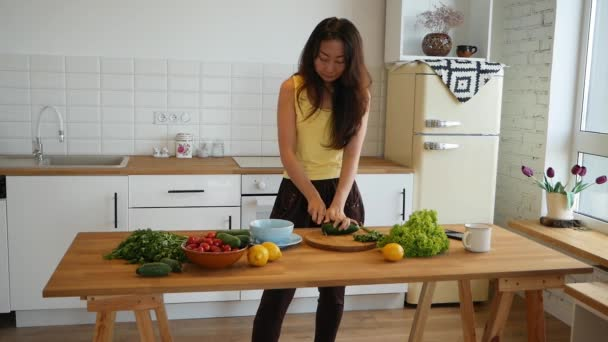 Happy Female Cooking Vegetable Salad, Healthy Lifestyle.