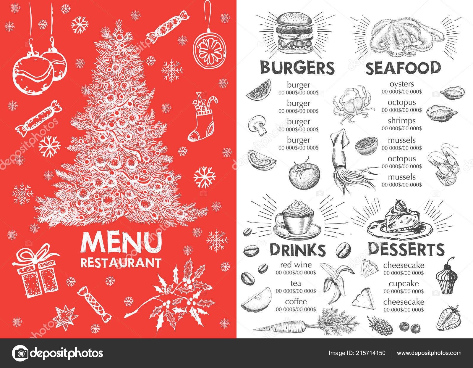 christmas menu restaurant menu stock vector oldesign 215714150
