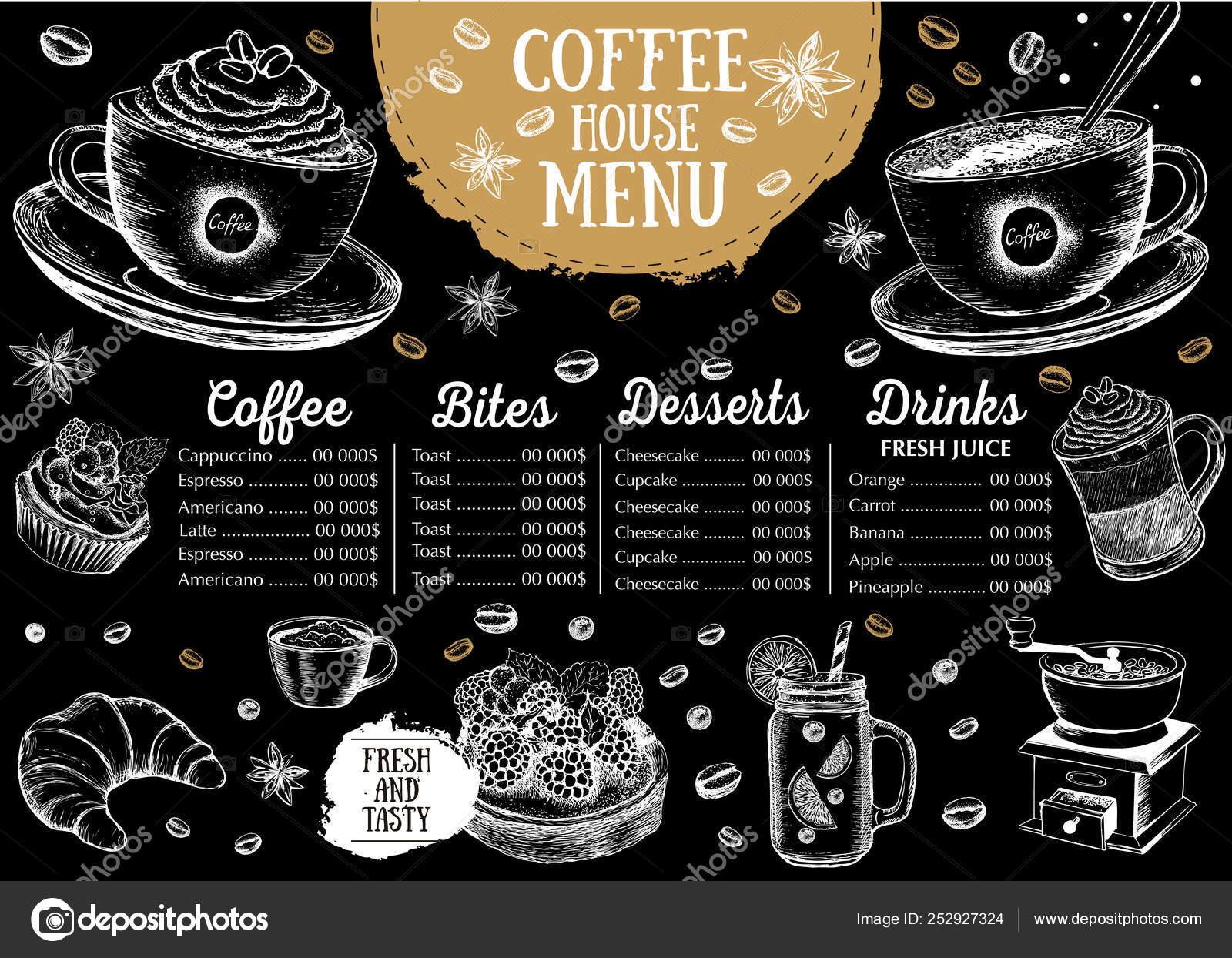 Coffee House Menu Restaurant Cafe Menu Template Design Food Flyer Stock Vector C Oldesign 252927324