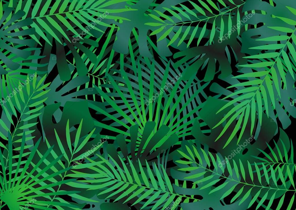 Tropical leaves elements compilation as green background