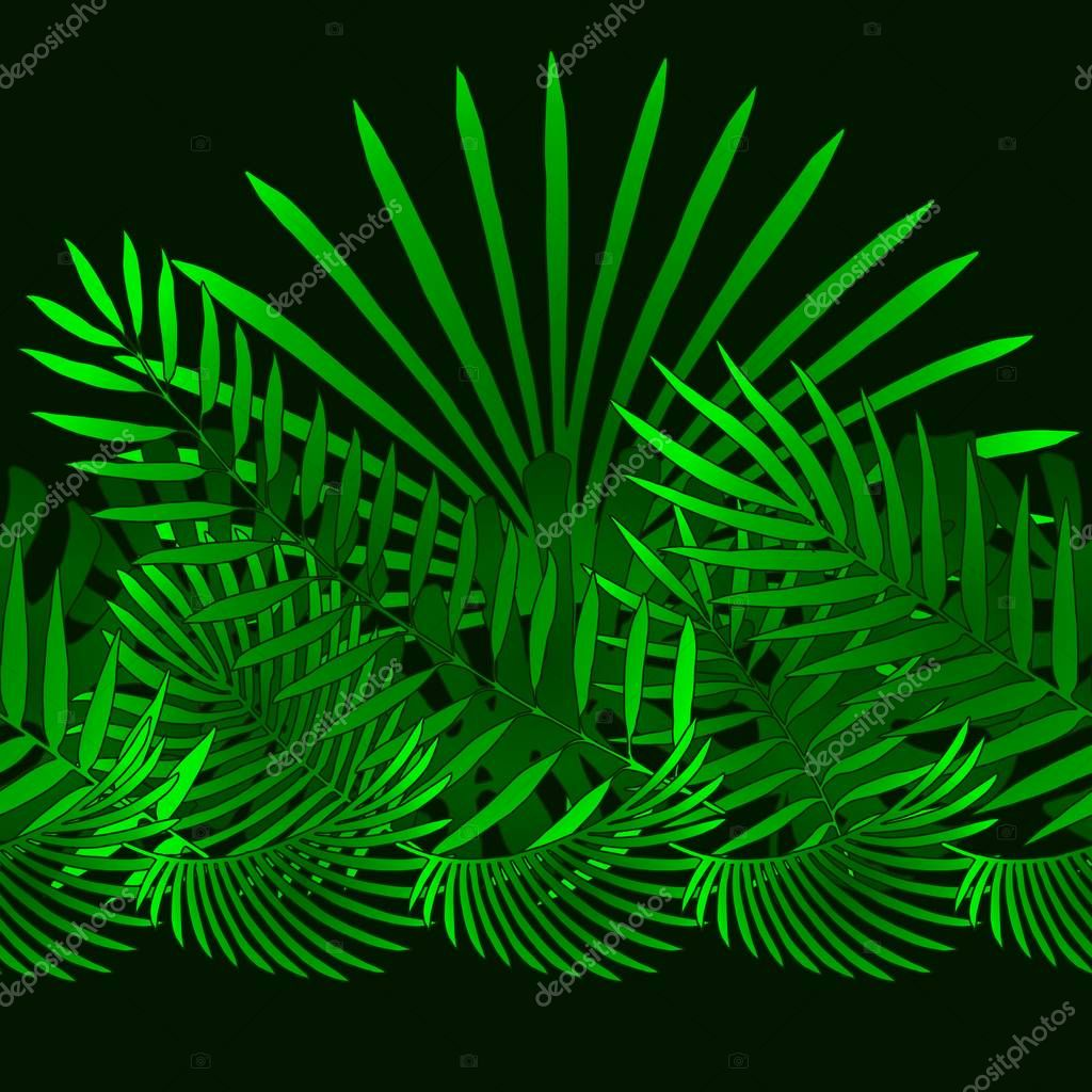 Tropical and palm leaves elements as green horizontal pattern