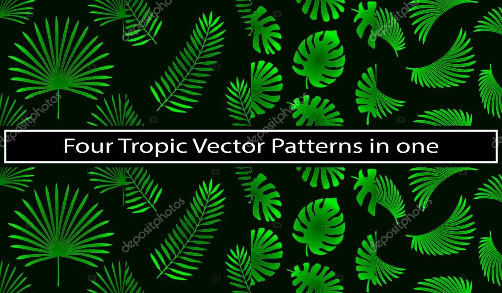 4 in 1 Tropical and palm leaves elements as green patterns set