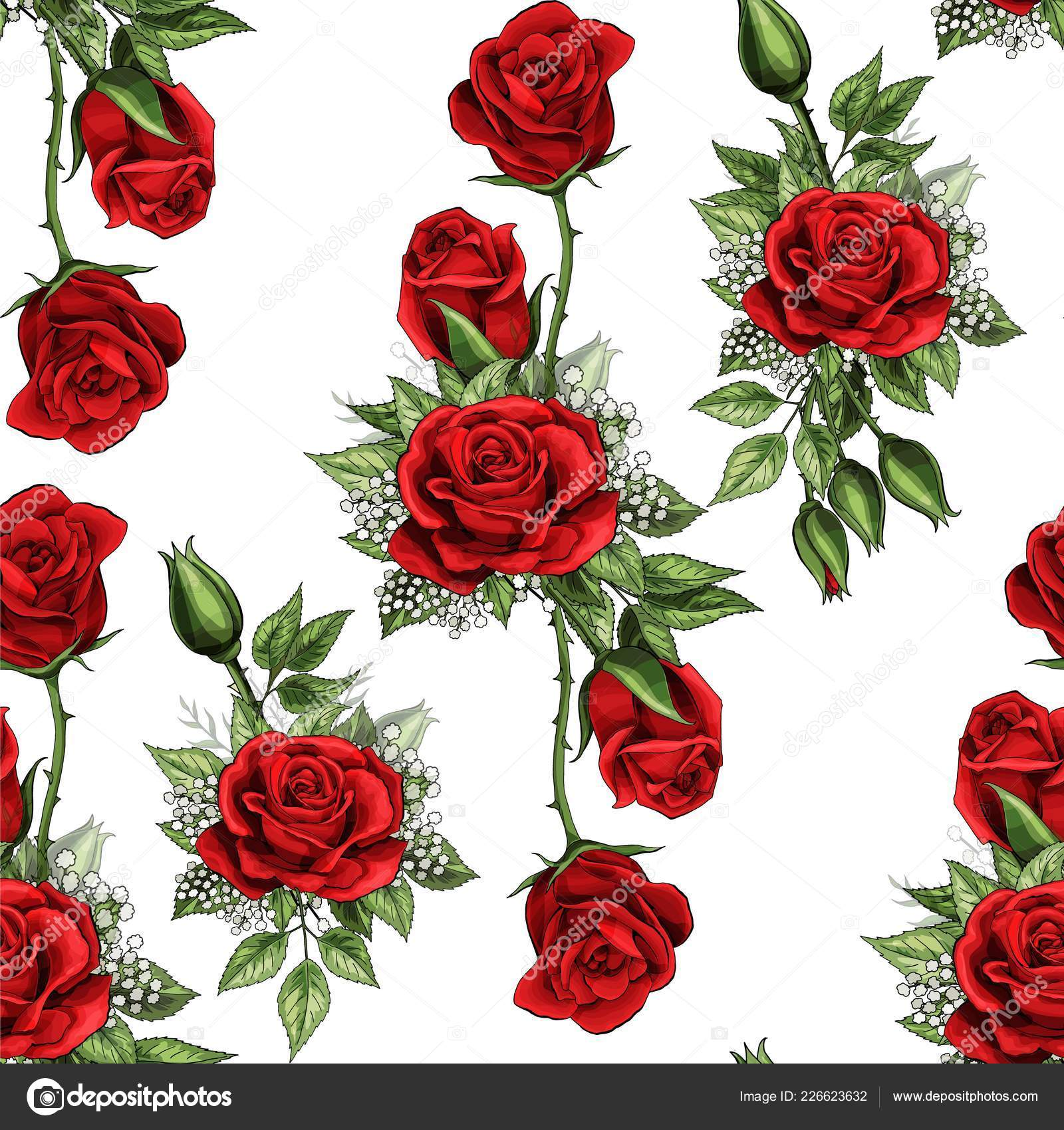 Red Rose Flower Bouquet Spreads Creeper Elements Seamless Pattern