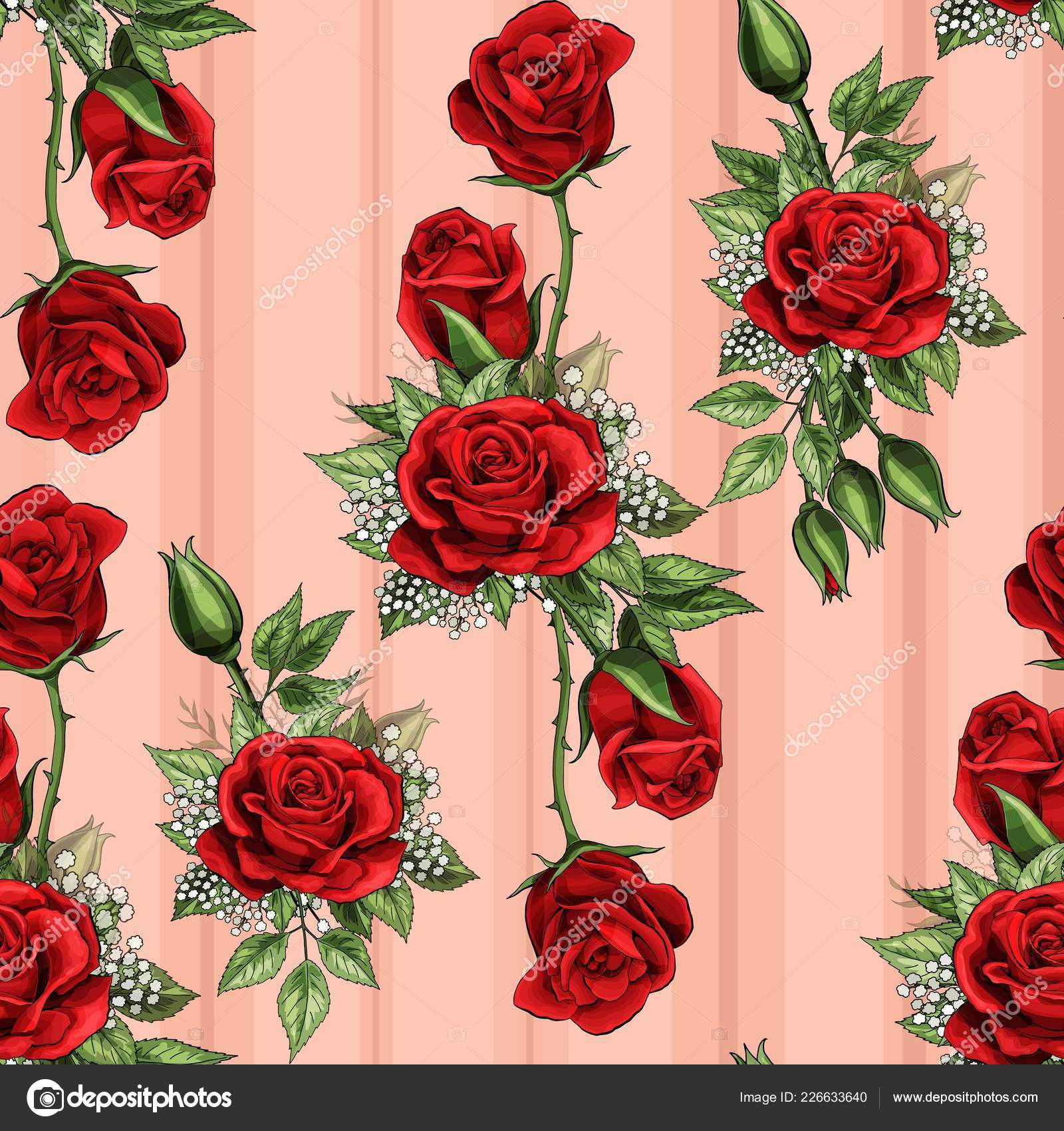 Red Rose Flower Bouquet Spreads Creeper Elements Seamless Pattern Wallpaper Stock Vector