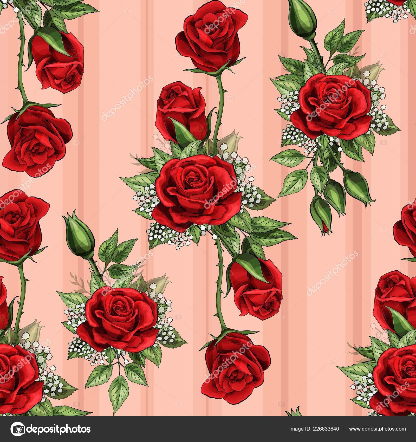 Buquê De Flores Rosa Vermelha Espalha Trepadeira Elementos