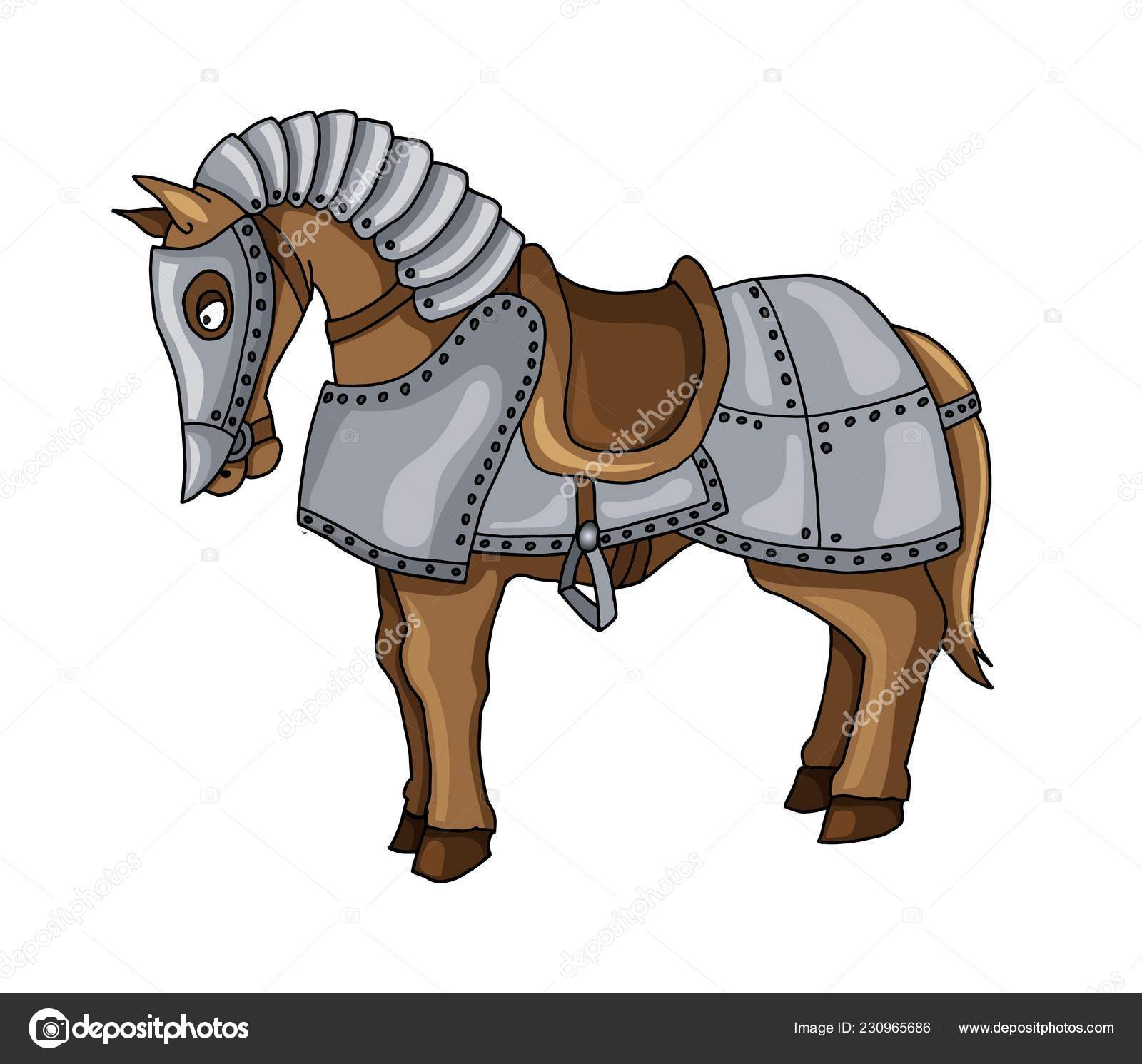 Cartoon Character Of War Horse In Armour Suit Illustration Isolated On White Stock Vector C Archon7th Gmail Com 230965686