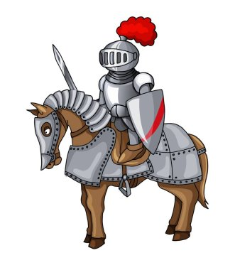 Knights Suit Body Protection Armor with Sword and Shield cartoon illustration