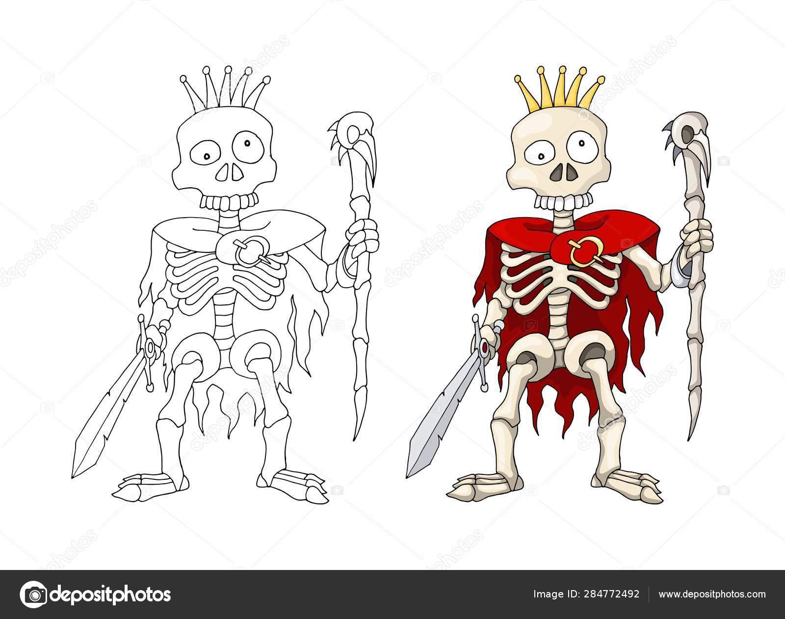 Guerrero Esqueleto Humano De Pie Con Espada Y Cetro